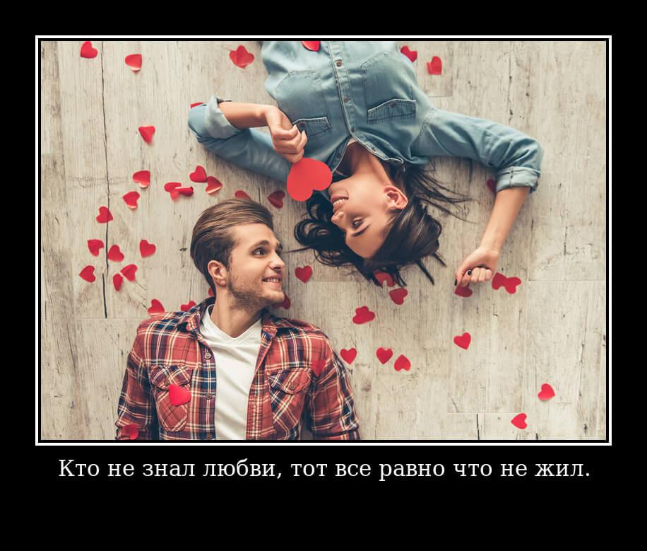 Кто не знал любви, тот все равно что не жил.