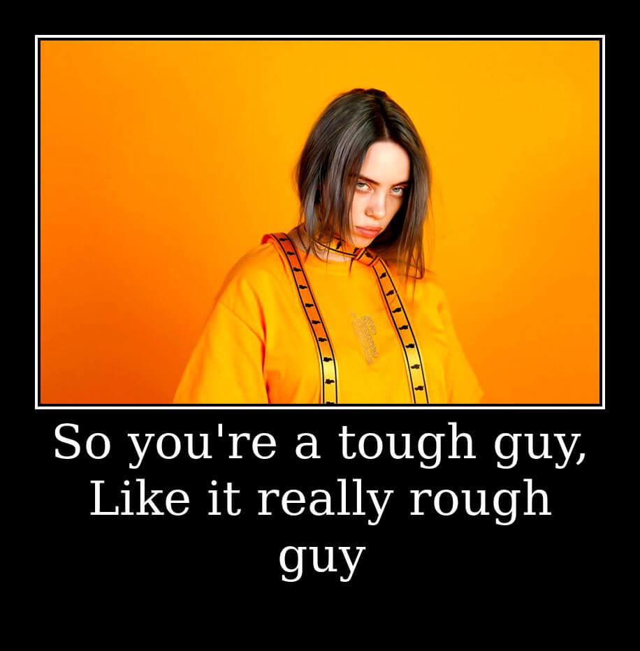 На фото изображен текст из песни Bad Guy.