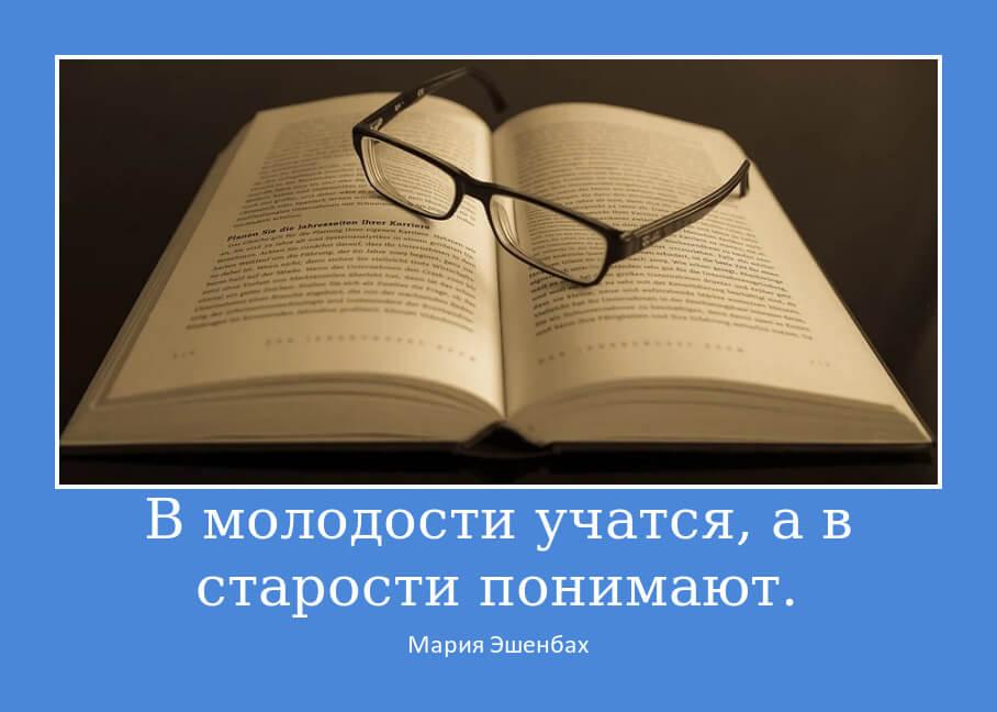 В молодости учатся, а в старости понимают.
