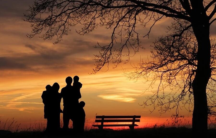На фото семья с детьми на фоне заката.