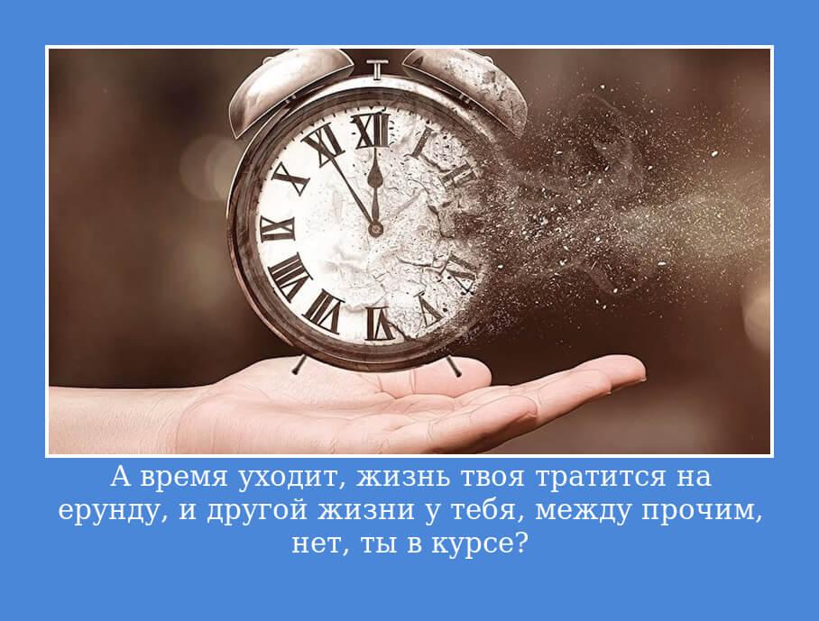 А время уходит, жизнь твоя тратится на ерунду, и другой жизни у тебя, между прочим, нет, ты в курсе?