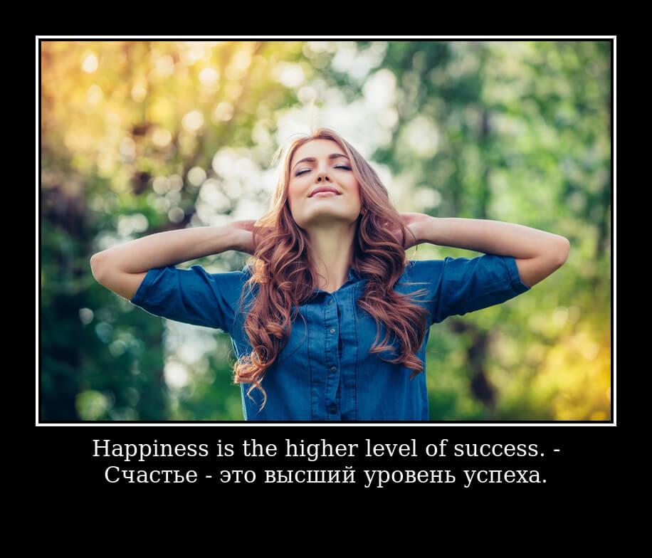 Happiness is the higher level of success. - Счастье - это высший уровень успеха.