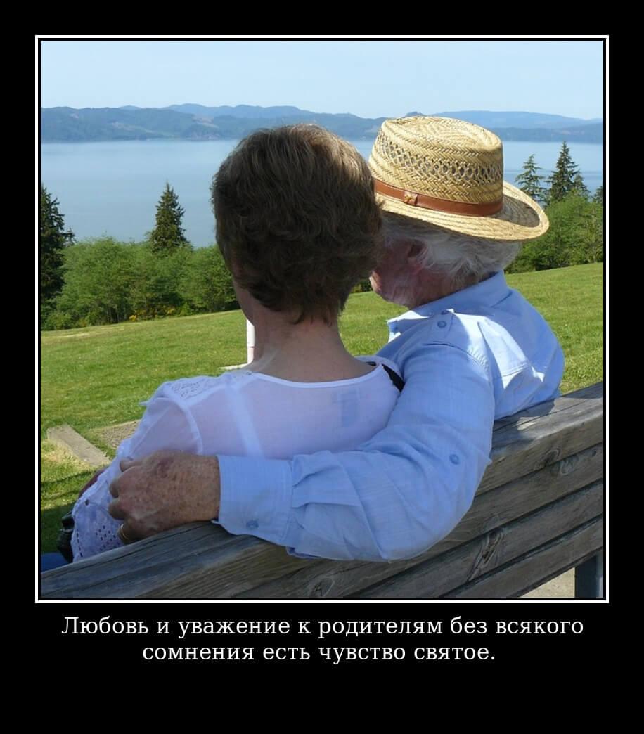 На фото счастливый муж и жена - пенсионеры. Сидят на лавочке и смотрят на море.