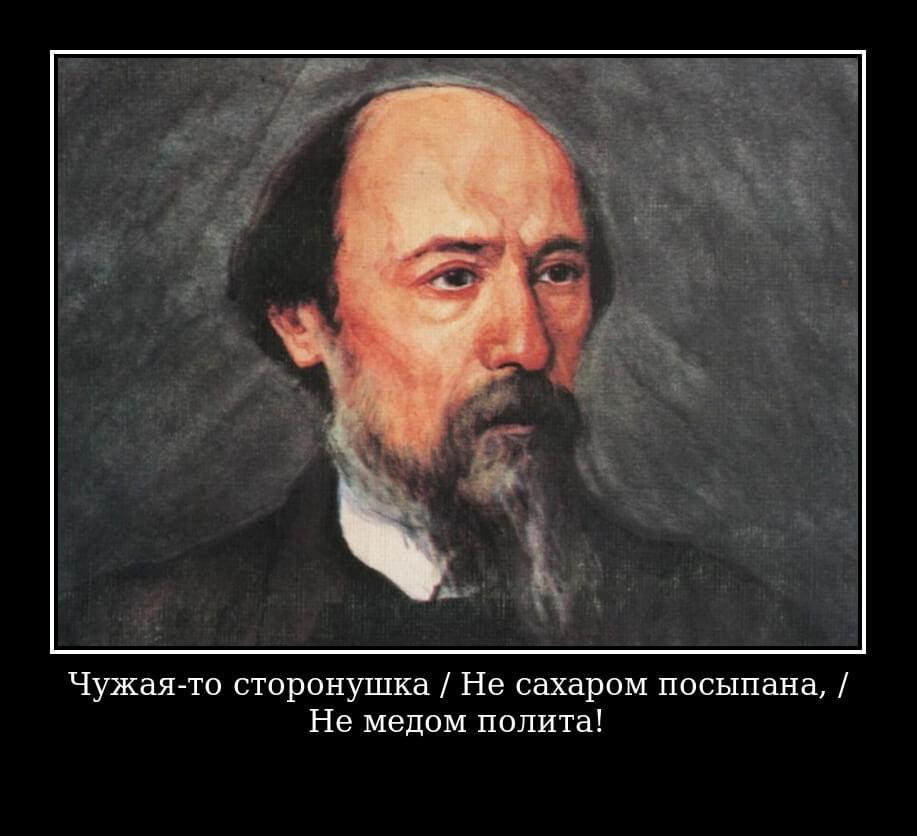 На фото изображен цитата из поэмы Кому на Руси жить хорошо.