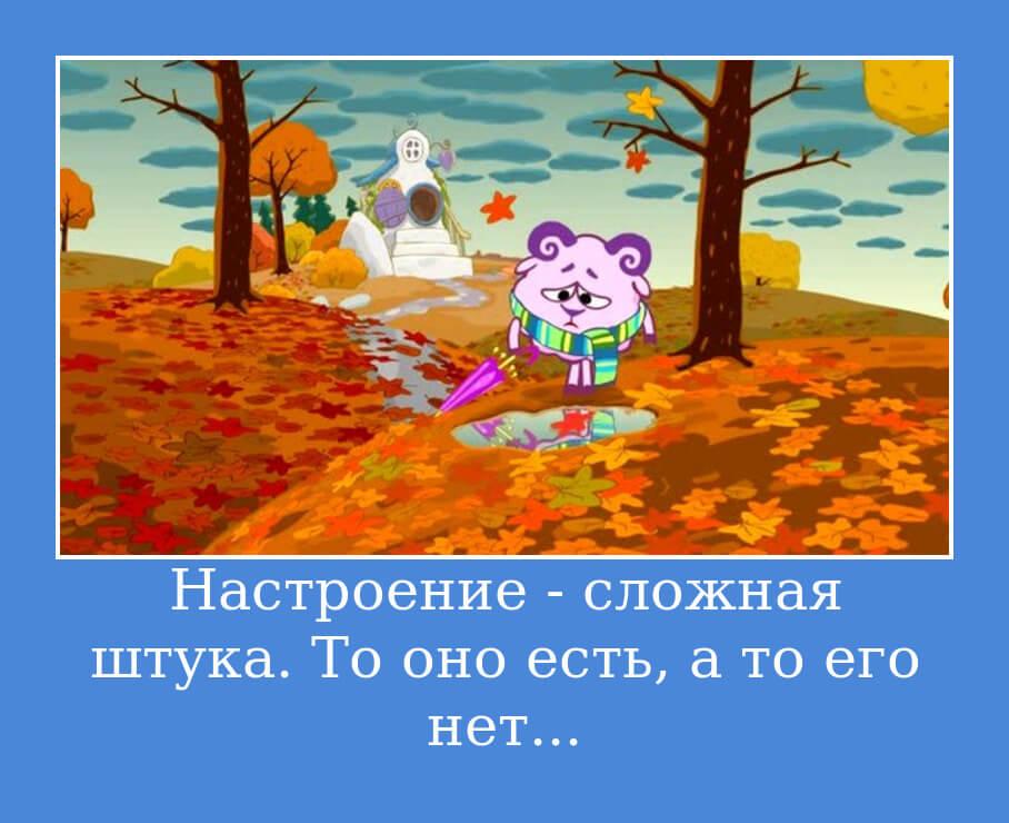 На фото изображена цитата из мультика Смешарики про настроение.