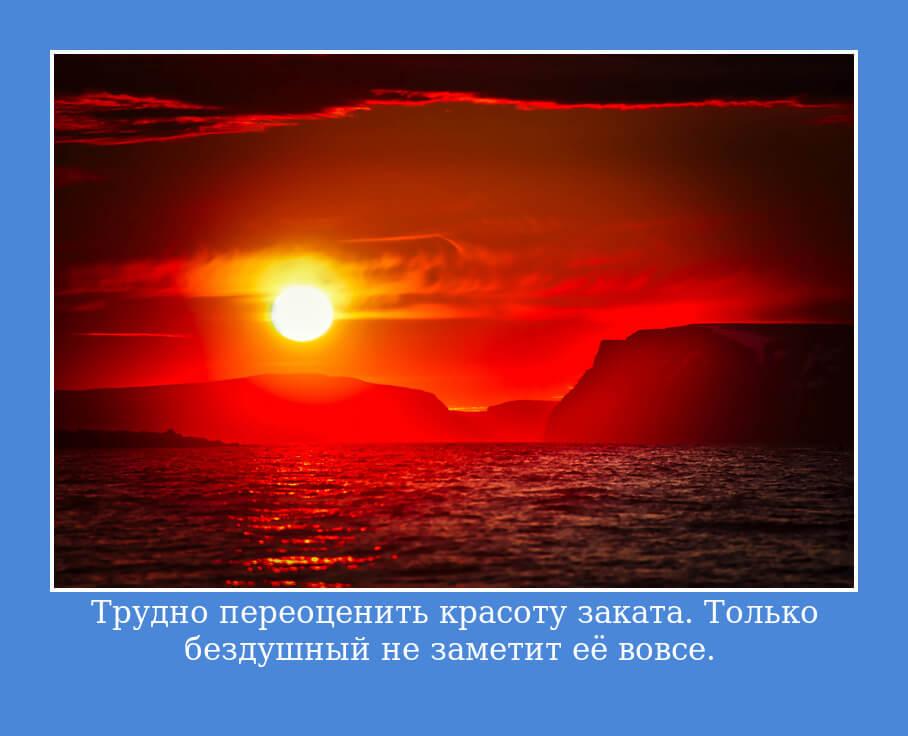 На фото изображено высказывание о красоте заката.