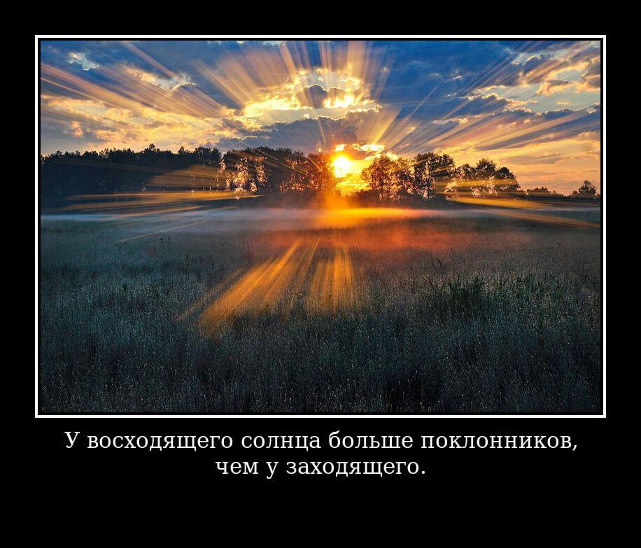 """На фото изображено высказывание """"У восходящего солнца больше поклонников, чем у заходящего""""."""