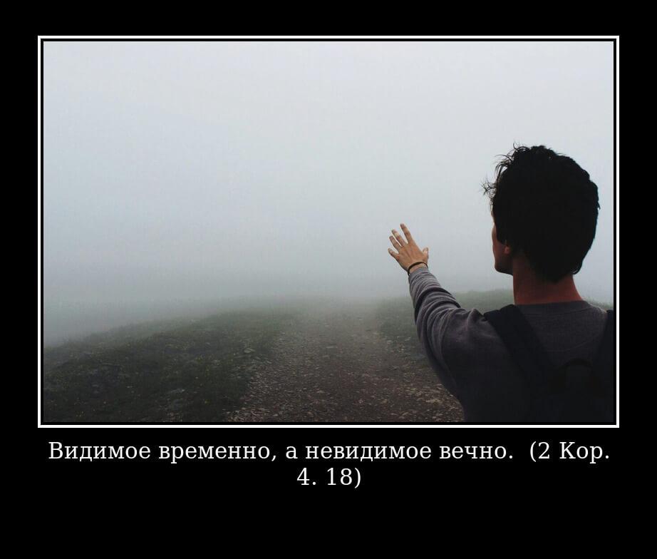 "На фото изображена цитата ""Видимое временно, а невидимое вечно. (2 Кор. 4. 18)""."