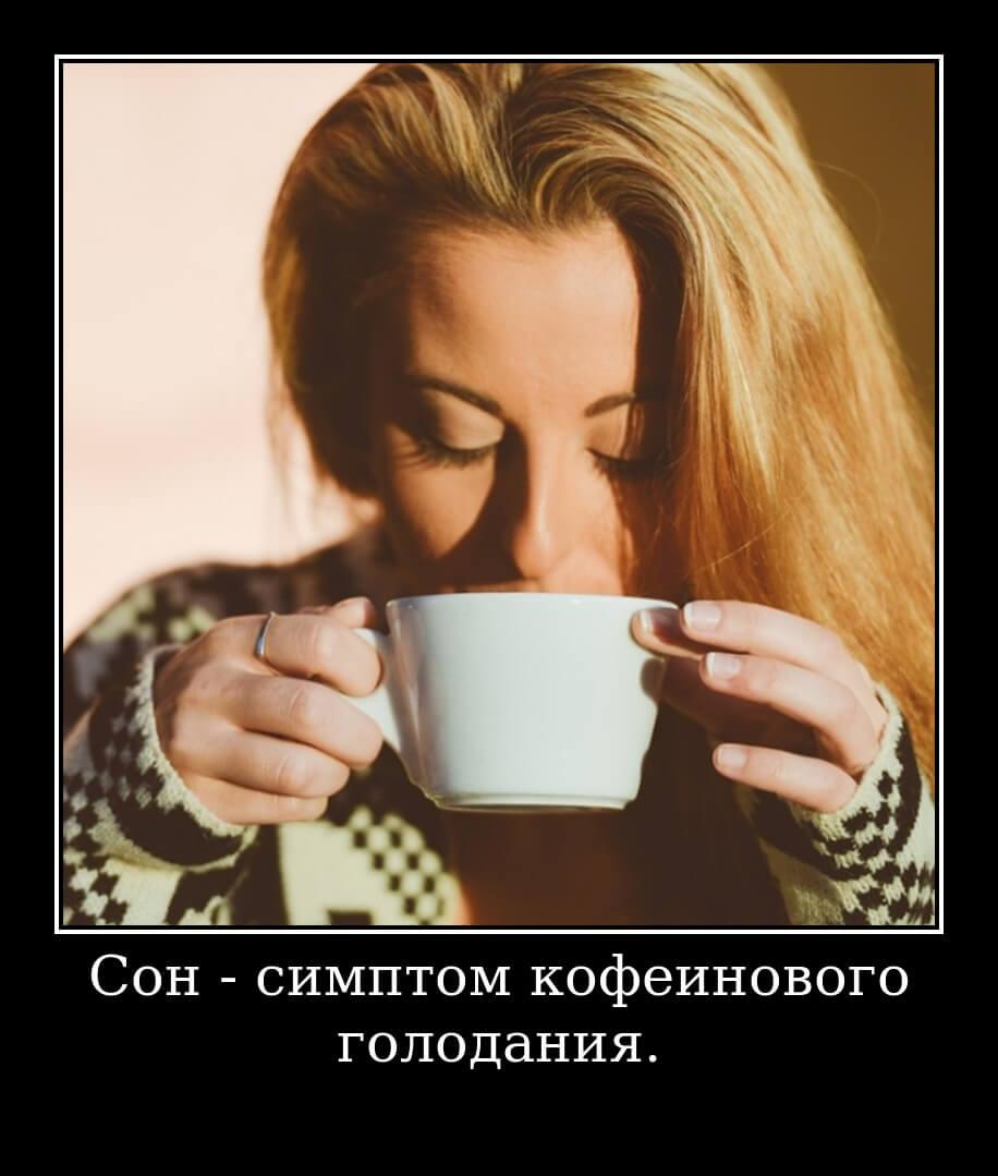 Сон - симптом кофеинового голодания.