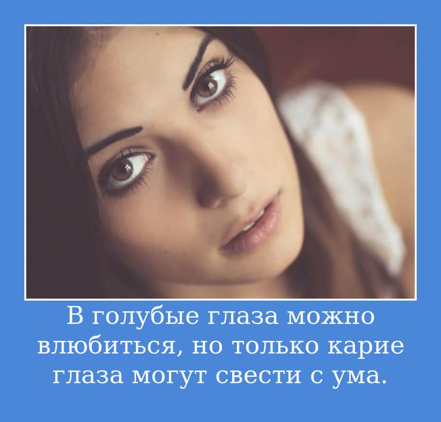 В голубые глаза можно влюбиться…И только карие глаза могут свести с ума.