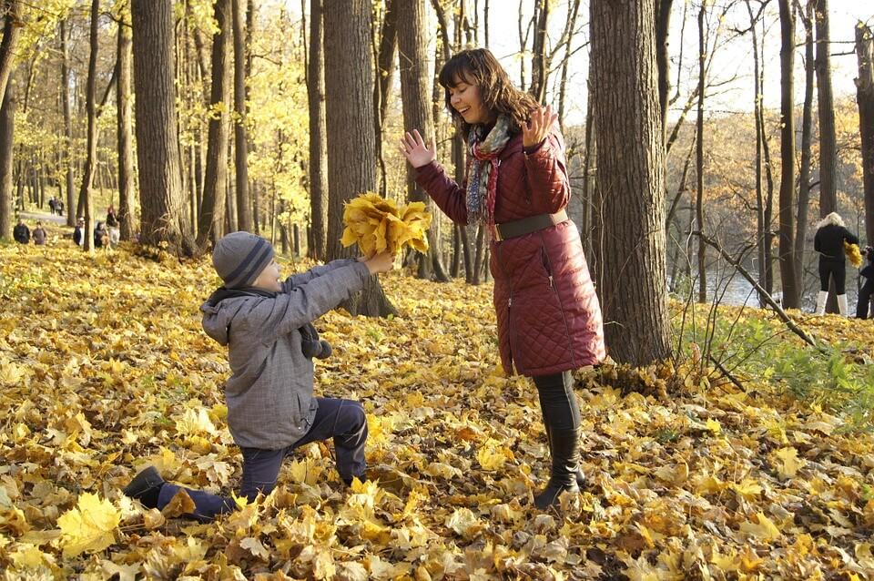 на фото изображено, как сын дарит букет из листьев матери.