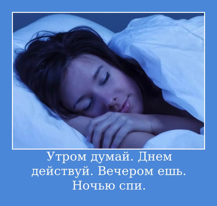 Утром думай. Днем действуй. Вечером ешь. Ночью спи.