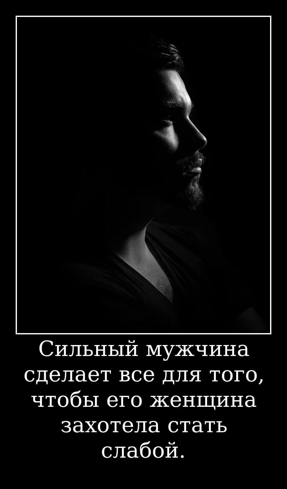 Сильный мужчина сделает все для того, чтобы его женщина захотела стать слабой.