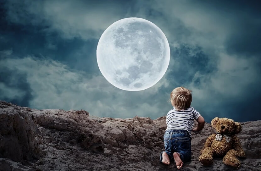 Ночь. Луна. Ребенок с мягкой игрушкой смотрят на луну.