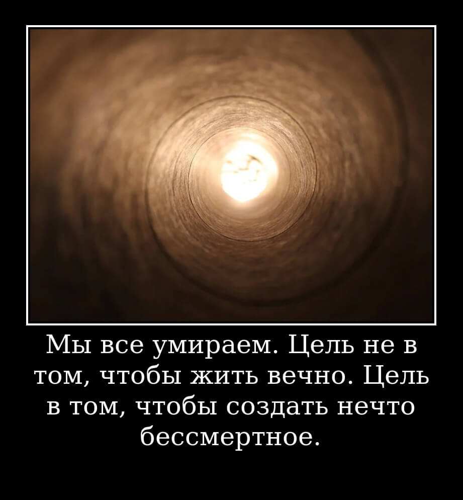 Мы все умираем. Цель не в том, чтобы жить вечно. Цель в том, чтобы создать нечто бессмертное.