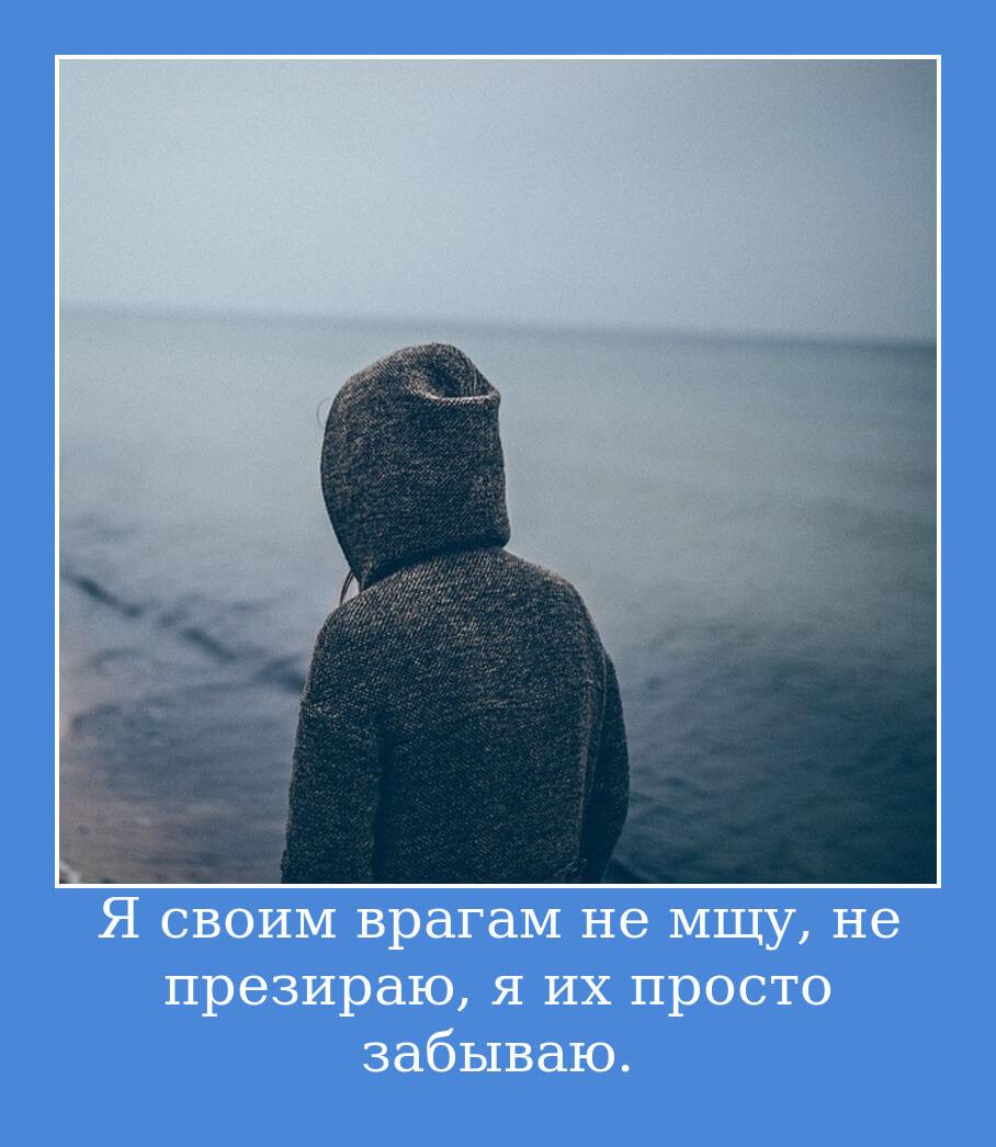 Я своим врагам не мщу, не презираю, я их просто забываю.