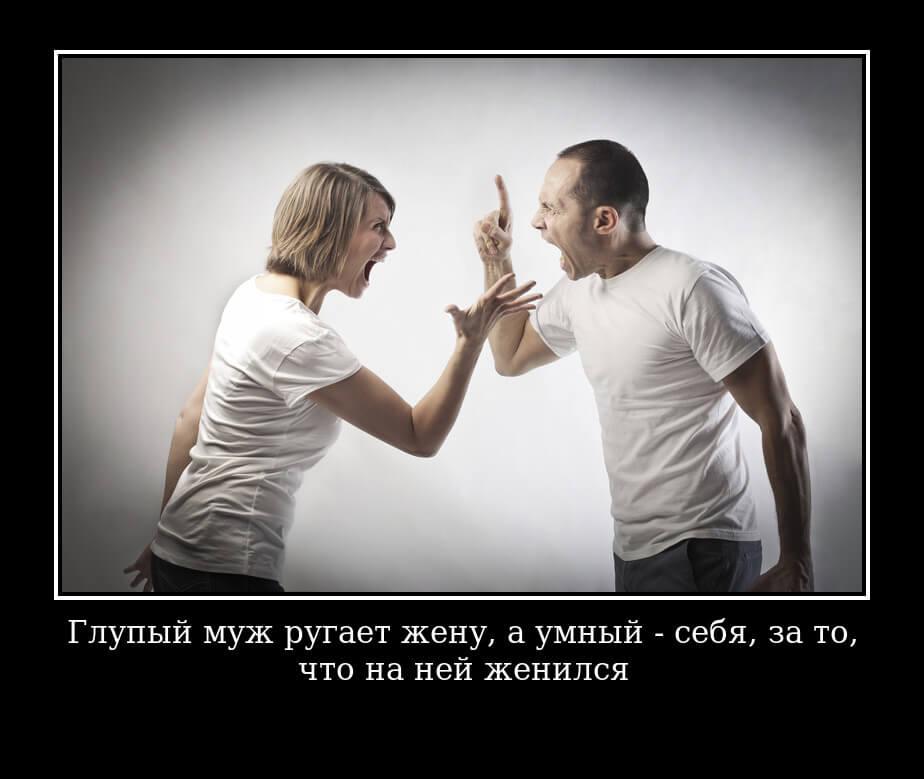 """На фото изображена цитата """"Глупый муж ругает жену, а умный - себя, за то, что на ней женился…""""."""