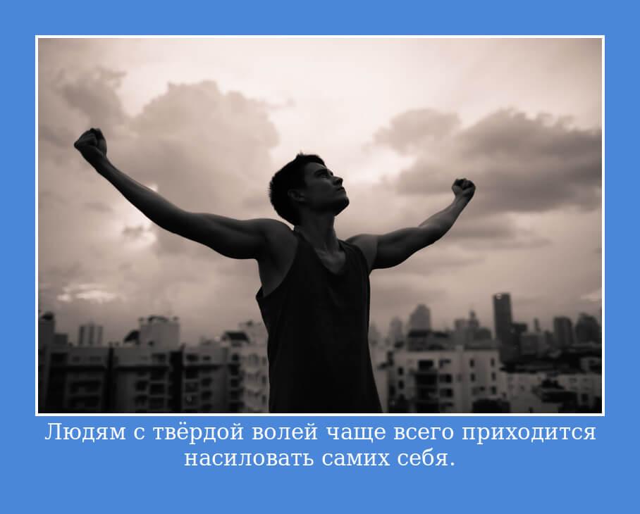На фото изображено высказывание о силе воли.