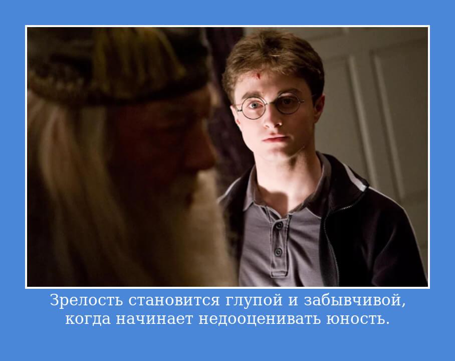 На фото изображено высказывание из книги о Гарри Поттере.