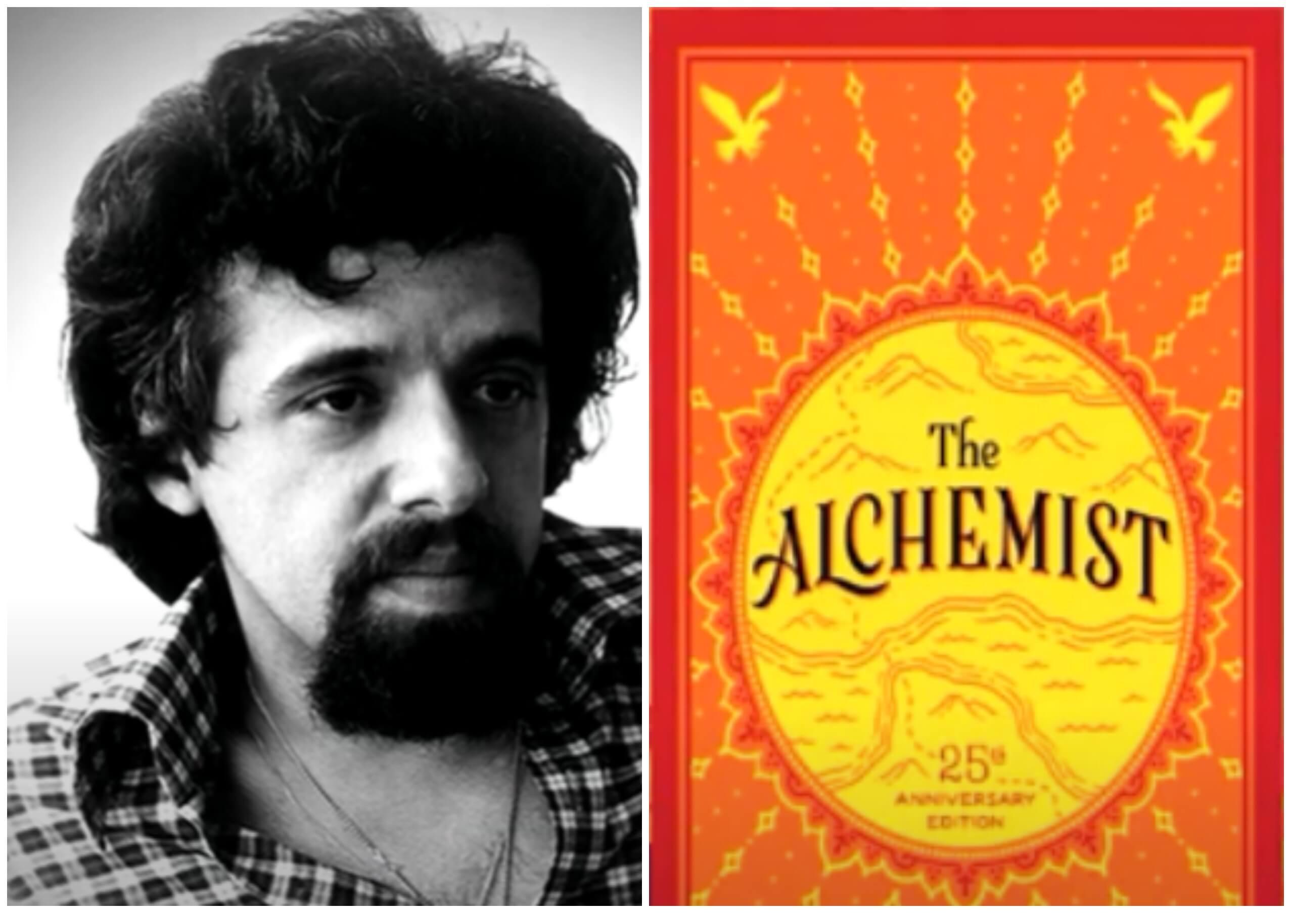 """На фото изображен Пауло Коэльо и обложка его книги """"Алхимик""""."""