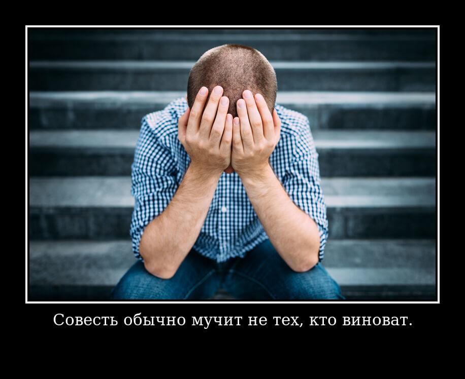 Совесть обычно мучит не тех, кто виноват.