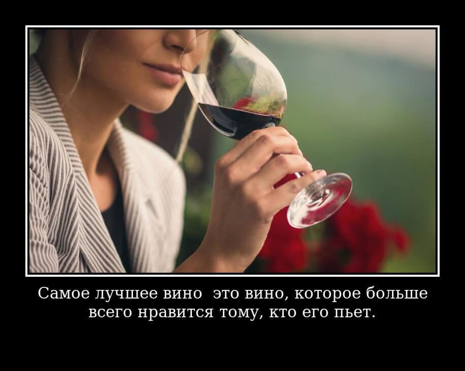Самое лучшее вино — это вино, которое больше всего нравится тому, кто его пьет.