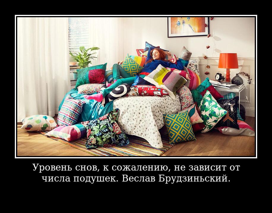 Уровень снов, к сожалению, не зависит от числа подушек. Веслав Брудзиньский.