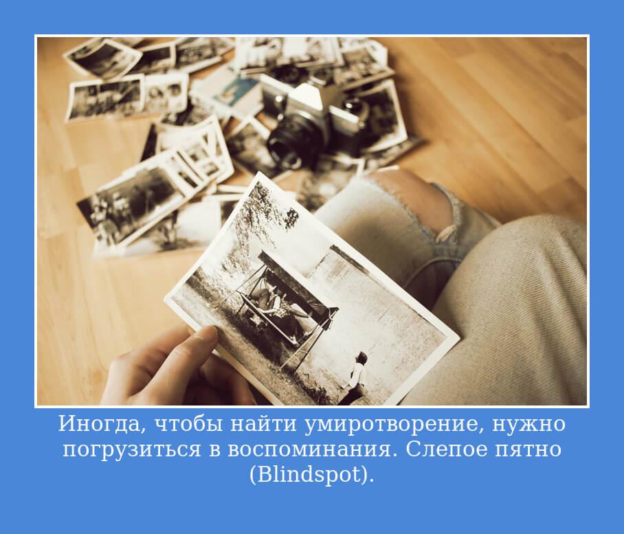 Иногда, чтобы найти умиротворение, нужно погрузиться в воспоминания. Слепое пятно (Blindspot)