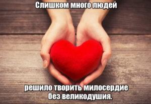 Слишком много людей решило творить милосердие без великодушия.