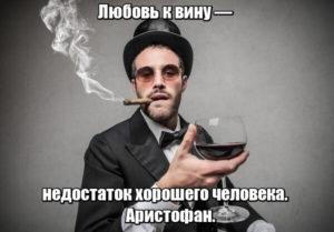 Любовь к вину — недостаток хорошего человека. Аристофан.