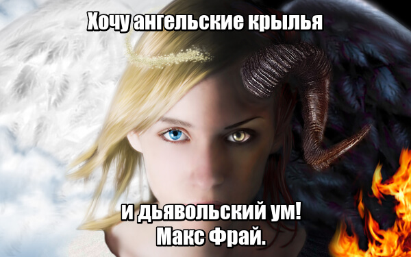 Хочу ангельские крылья и дьявольский ум! Макс Фрай.