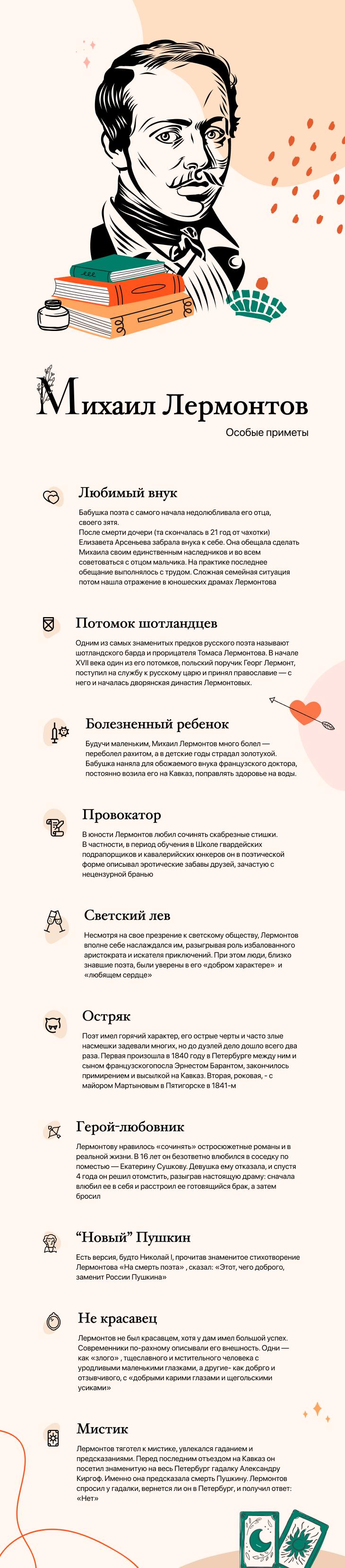 Инфографика - Михаил Юрьевич Лермонтов.