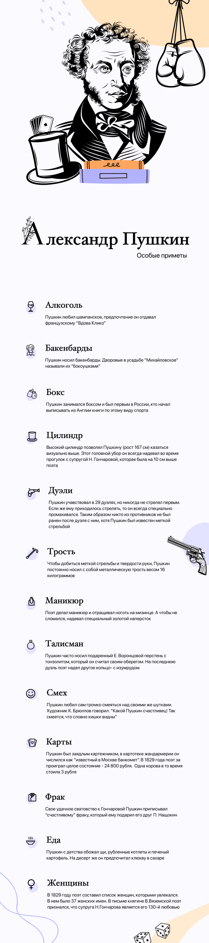 Инфографика - поэт Александр Сергеевич Пушкин.